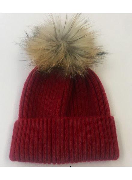 Linda Richards Wool Rib Fur Pom Hat