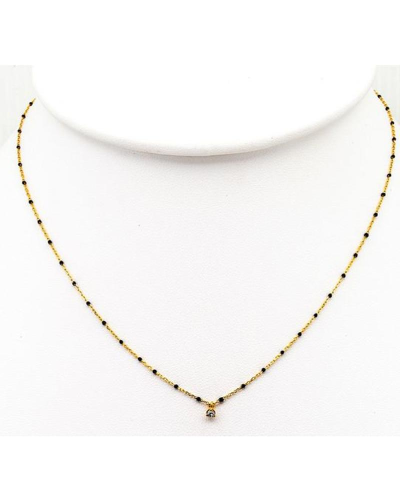 Tai Gold Vermeil Necklace with Black Enamel and CZ