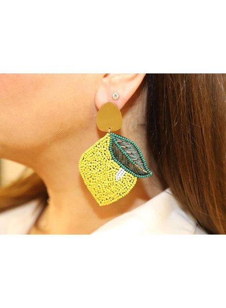 Allie Beads Beaded Lemon Earrings