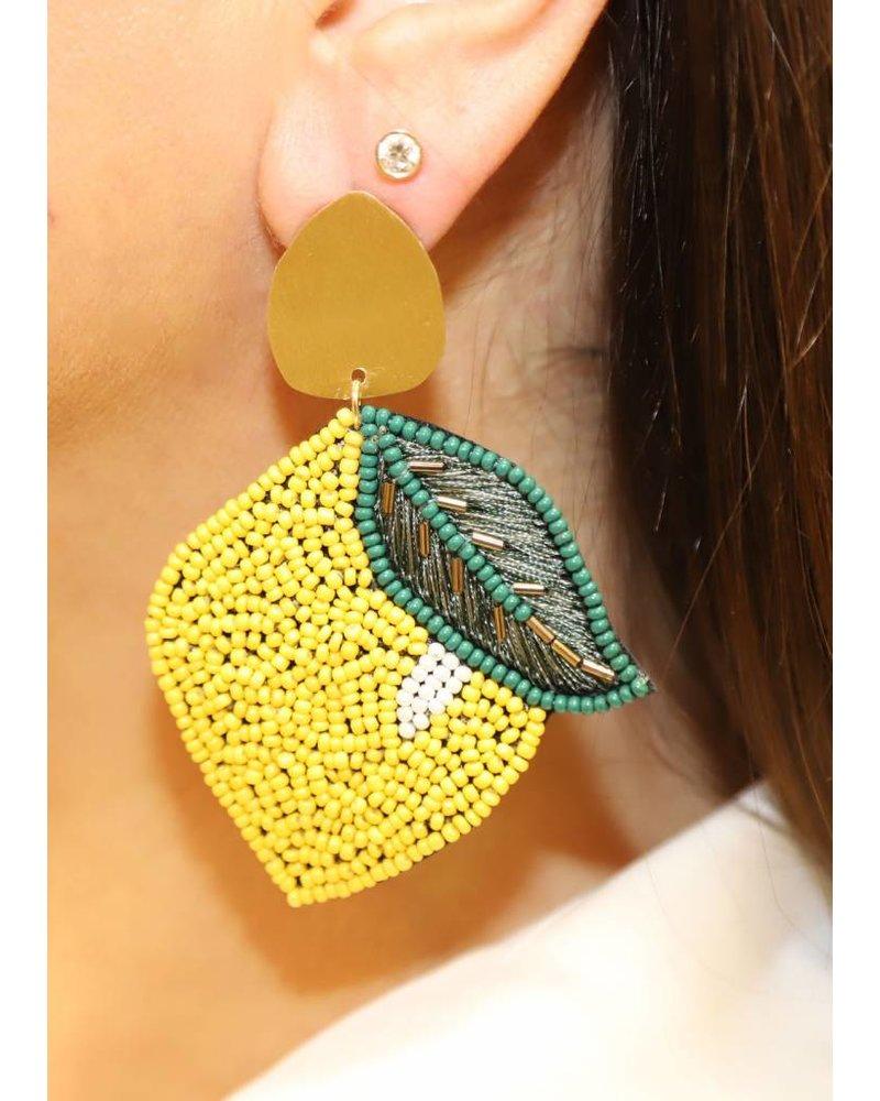 Allie Beads Beaded Lemon Earrings