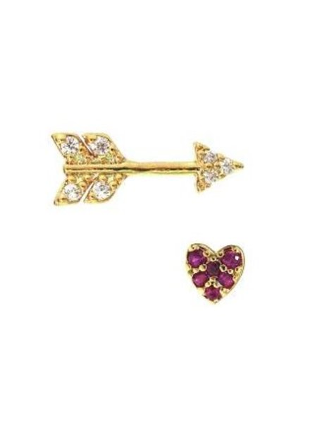 Tai Heart and Arrow Studs