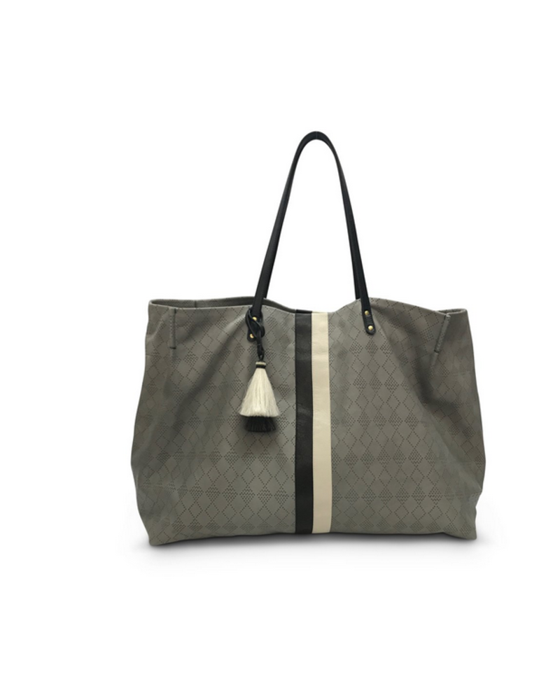 Kempton & Co Oversized Diamond Perf Tote- Storm Grey