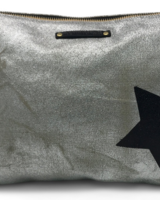 Kempton & Co Metallic Canvas Black Star Pouch
