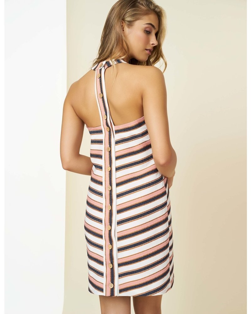 Hutch River Coral Navy Stripe Shift Dress