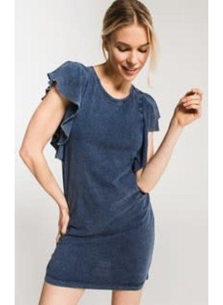 Z Supply The Jersey Denim Ruffle Sleeve Dress