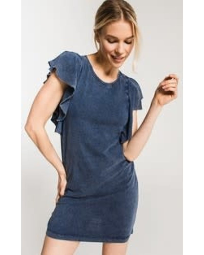Z Supply The Jersey Denim Ruffle Sleeve Dress