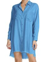 Elan Button Front Shirt Dress with Frayed Hem