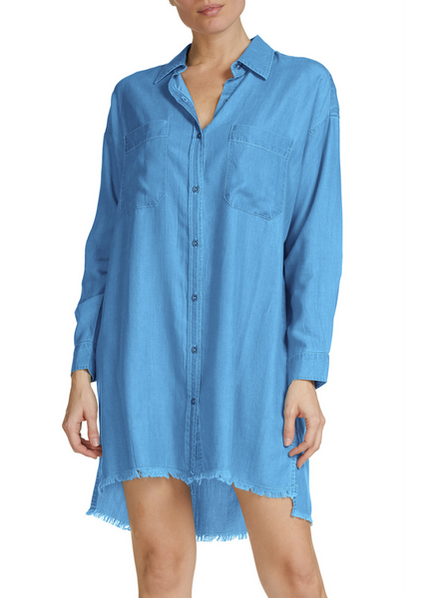 Elan Button Front Shirt Dress with Frayed Hem