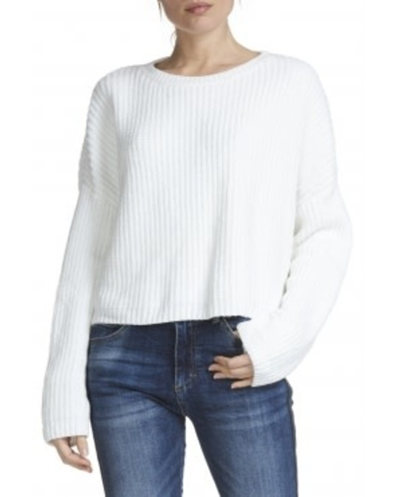 Elan Chanille Overlay-Back Cropped Sweater