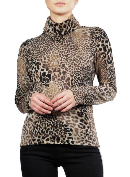 Elan Leopard Cowl-Neck Sweater