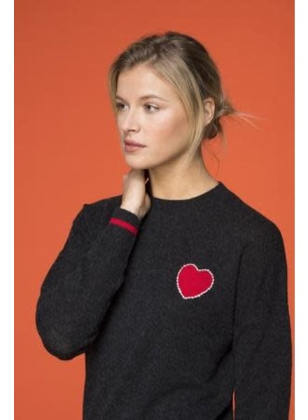 27 Miles Lolita Heart Cropped Crew Neck