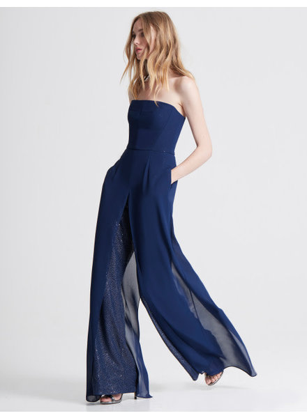 Halston Georgette Overlay Sequined Jumpsuit