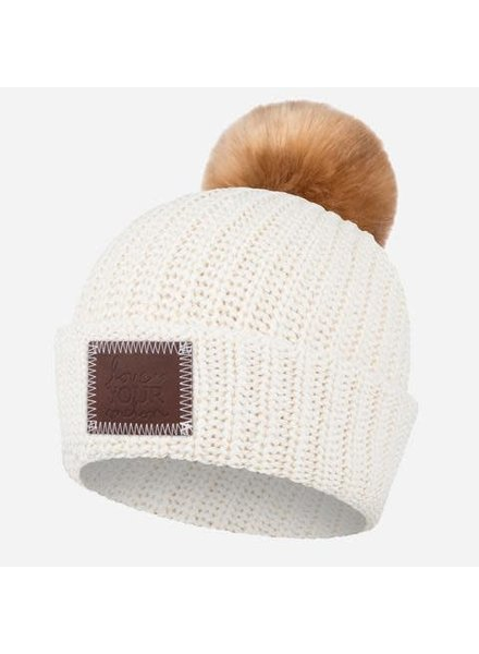 Love Your Melon Love Your Melon Beanie White Speckled Pom