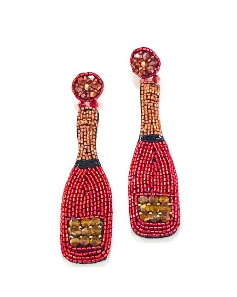 Allie Beads Red Champagne Earrings