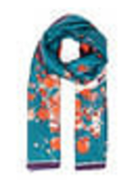 Powder Satin Watercolour Fox Print Scarf