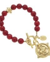 Susan Shaw Bulldog and Red Coral Bracelet 2909BD