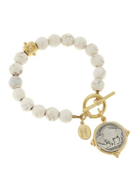 Susan Shaw Buffalo Nickel White Turquoise Bracelet