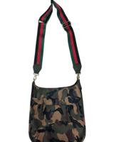 Ahdorned Army Camo Nylon Messenger w/Stripe Adjustable Web Strap