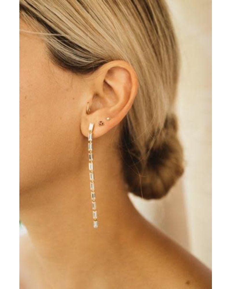 Jūraté Kitten - White Baguette Swarovski Crystal Earrings