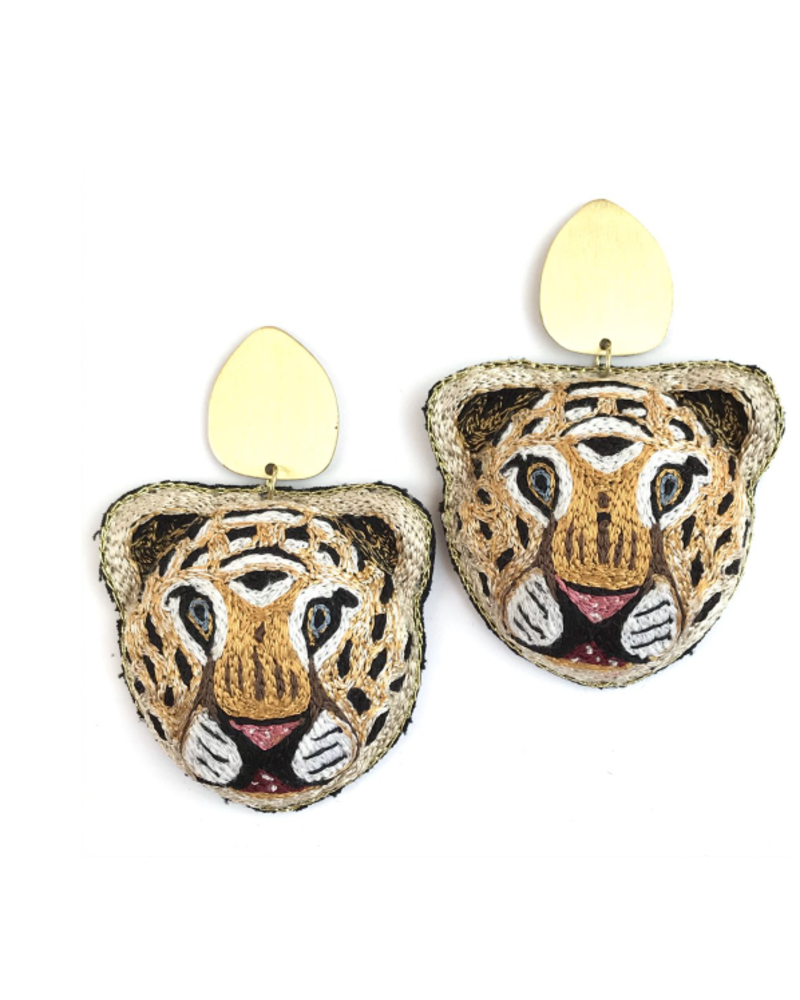 Allie Beads Tiger Earrings with Gold Post