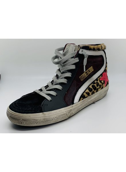 Golden Goose Sneaker Slide Animal-Burgundy Suede-Fuchsia Star