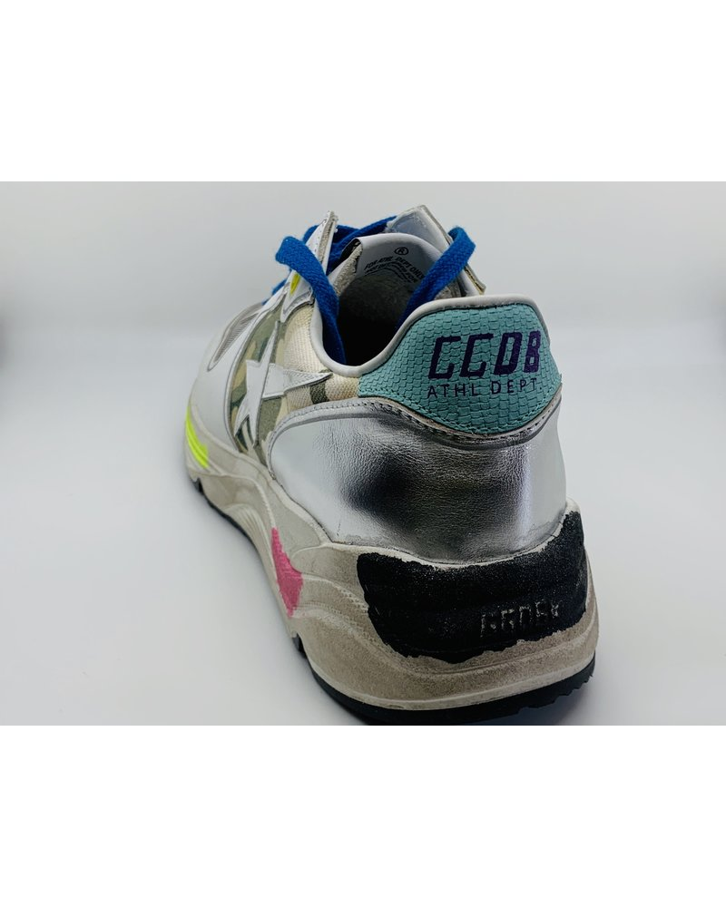 Golden Goose Running Sole White Leather-Camo Fabric White Star
