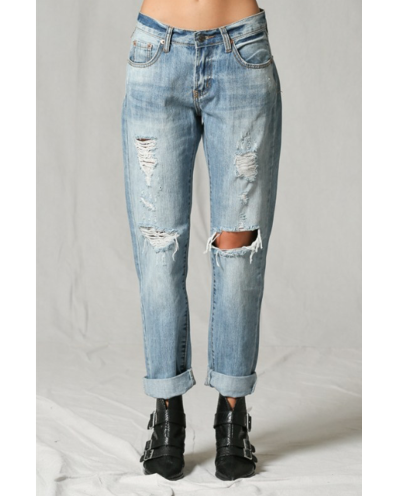 by-together Mid Rise Distressed Boyfriend Jeans