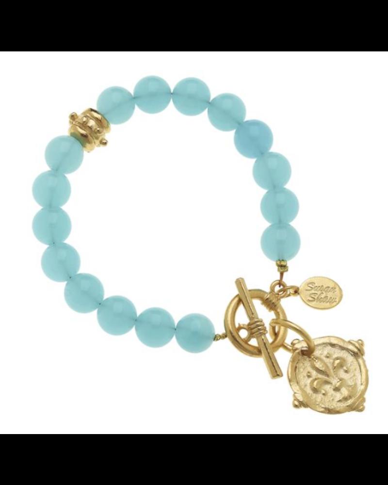 Susan Shaw Gold Fleur de Lis on Aqua Quartz Bracelet 2094