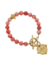Susan Shaw Gold Fleur de Lis Intaglio on Pink Coral 2907
