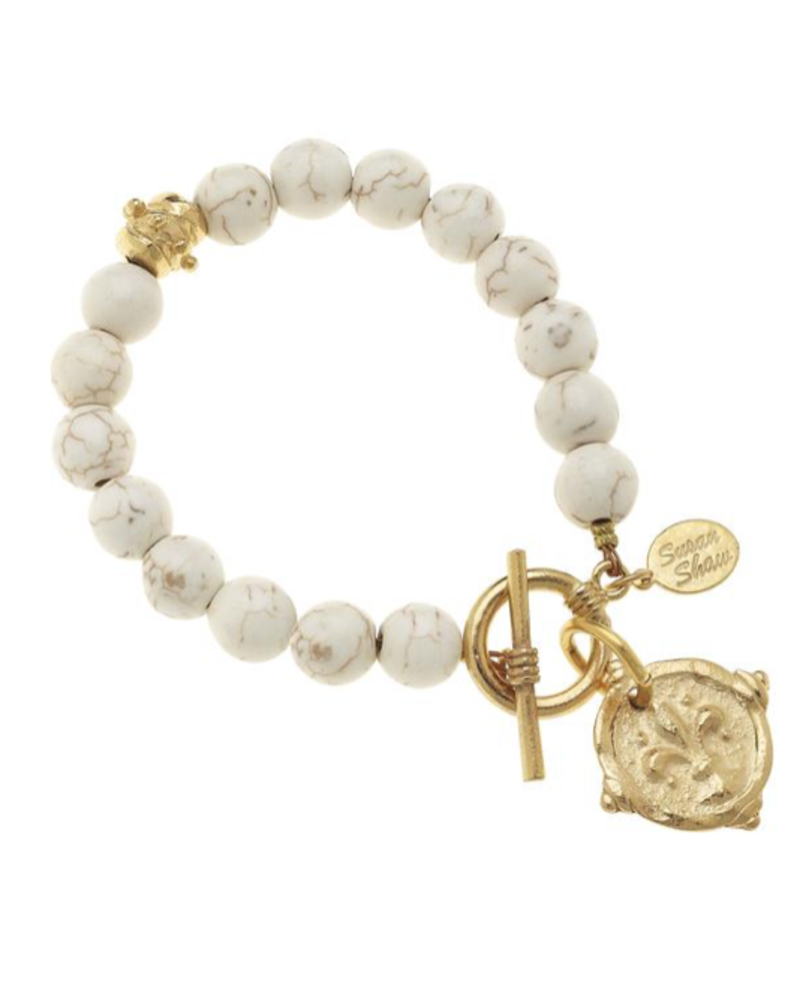 Susan Shaw White Turquoise with Italian Intaglio Fleur De Lis Bracelet