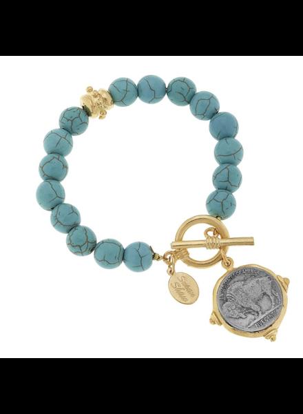 Susan Shaw Buffalo Nickel on Turquoise Bracelet