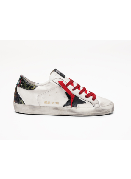 Golden Goose Superstar White Leather and Metallic Animal Heel