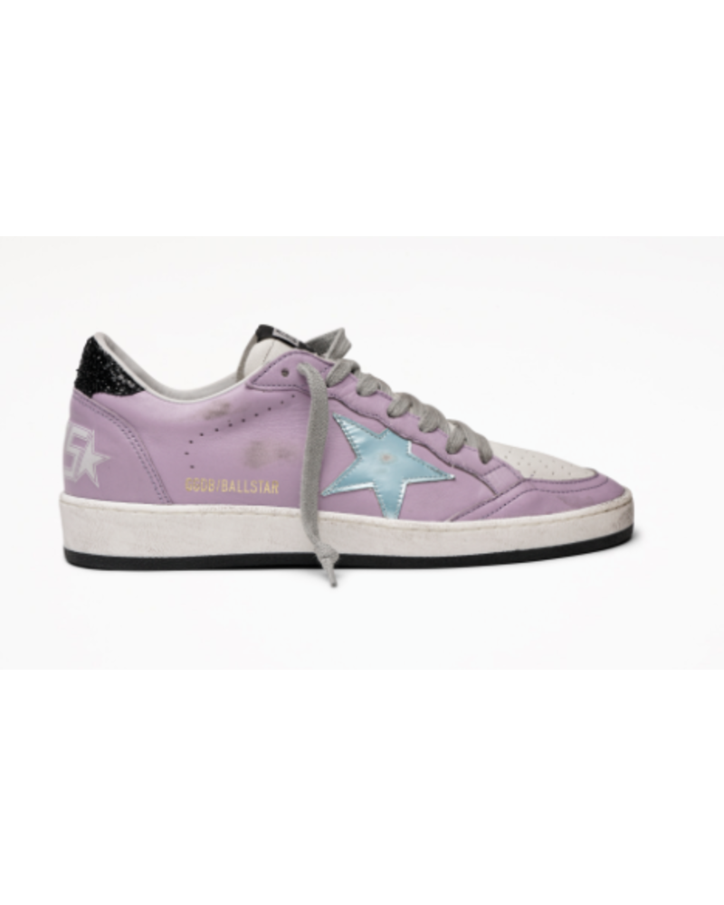 Golden Goose Ball Star Lilac Nappa with Blue Star