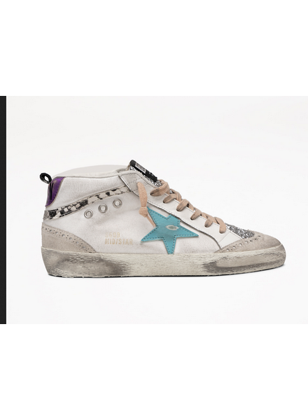 Golden Goose Mid Star White Leather with Mavi Blue Star