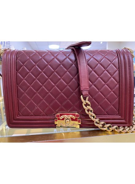 Classic Coco Authentic Chanel Burgandy Medium Boy Bag