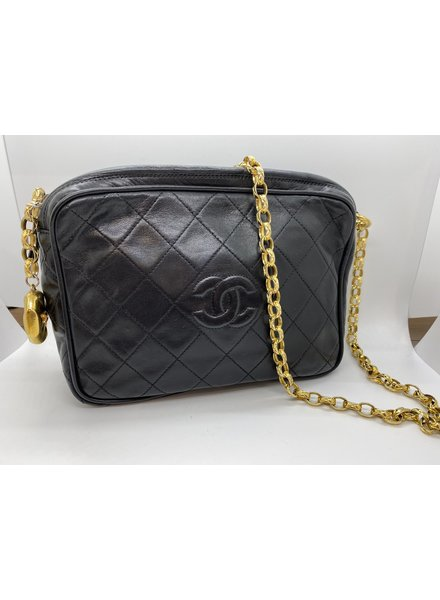 Classic Coco Authentic Chanel Vintage Rare Black Lambskin Camera Bag