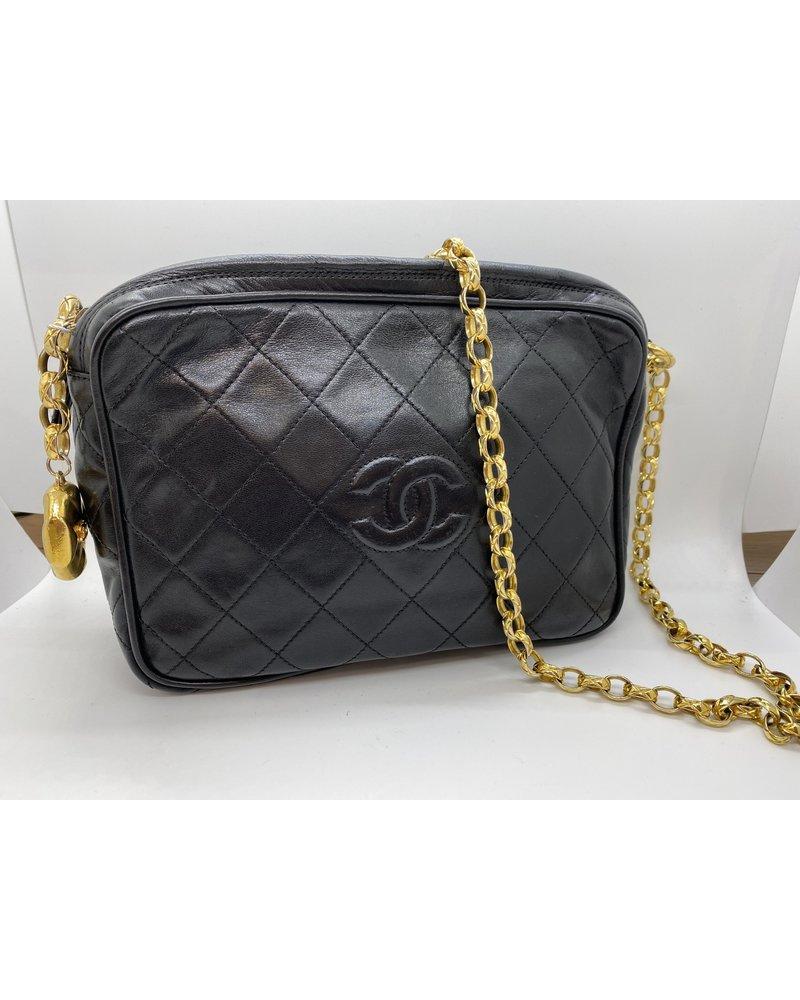 Classic Coco Authentic Chanel Vintage Rare Black Lambskin Camera Bag
