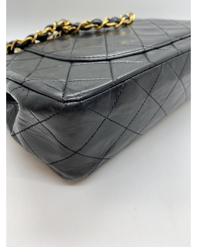 Classic Coco Authentic Chanel Vintage Black Lambskin Flap Bag
