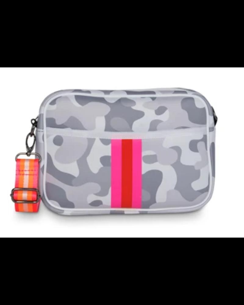 Haute Shore Drew Crossbody Bag - Grey Camo/Pink