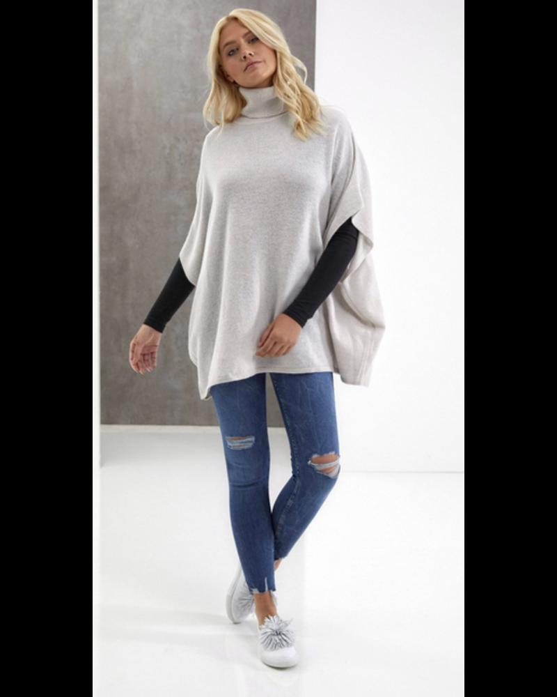 Brodie Poncho Roll Neck Sweater - Ash Grey O/S