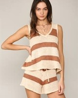 by-together V Neck Sleeveless Striped Knitted Tank Top