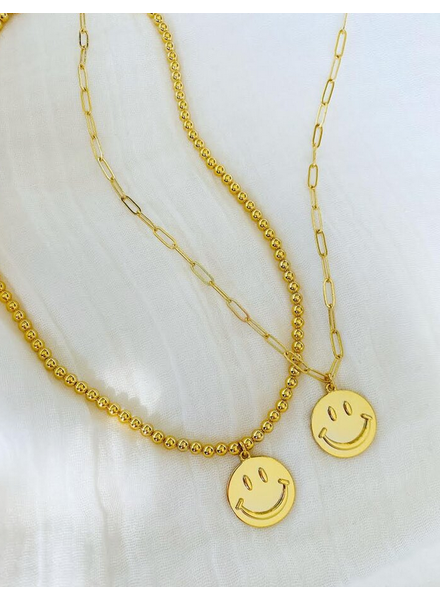 Alv Jewels Be Happy Necklace - Gold ball chain