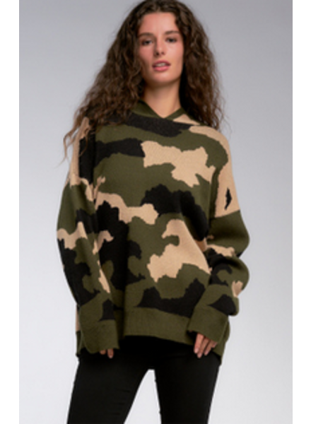 Elan Olive Camo Hoodie Sweater