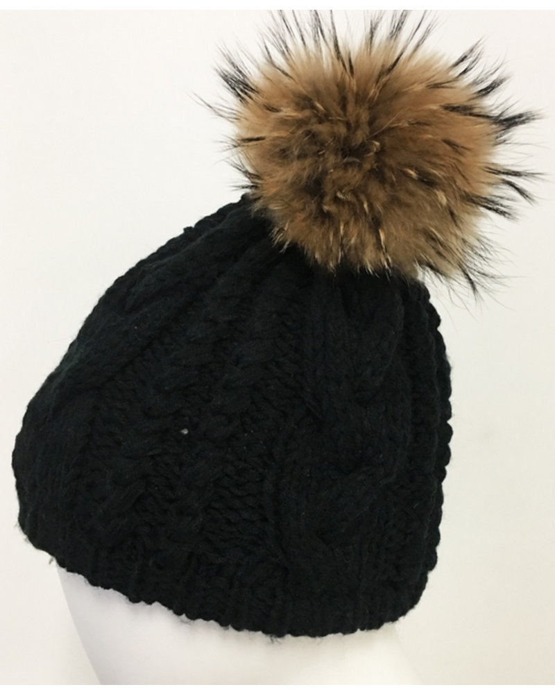 Linda Richards Cable Knit Hat with Fur Pom Pom