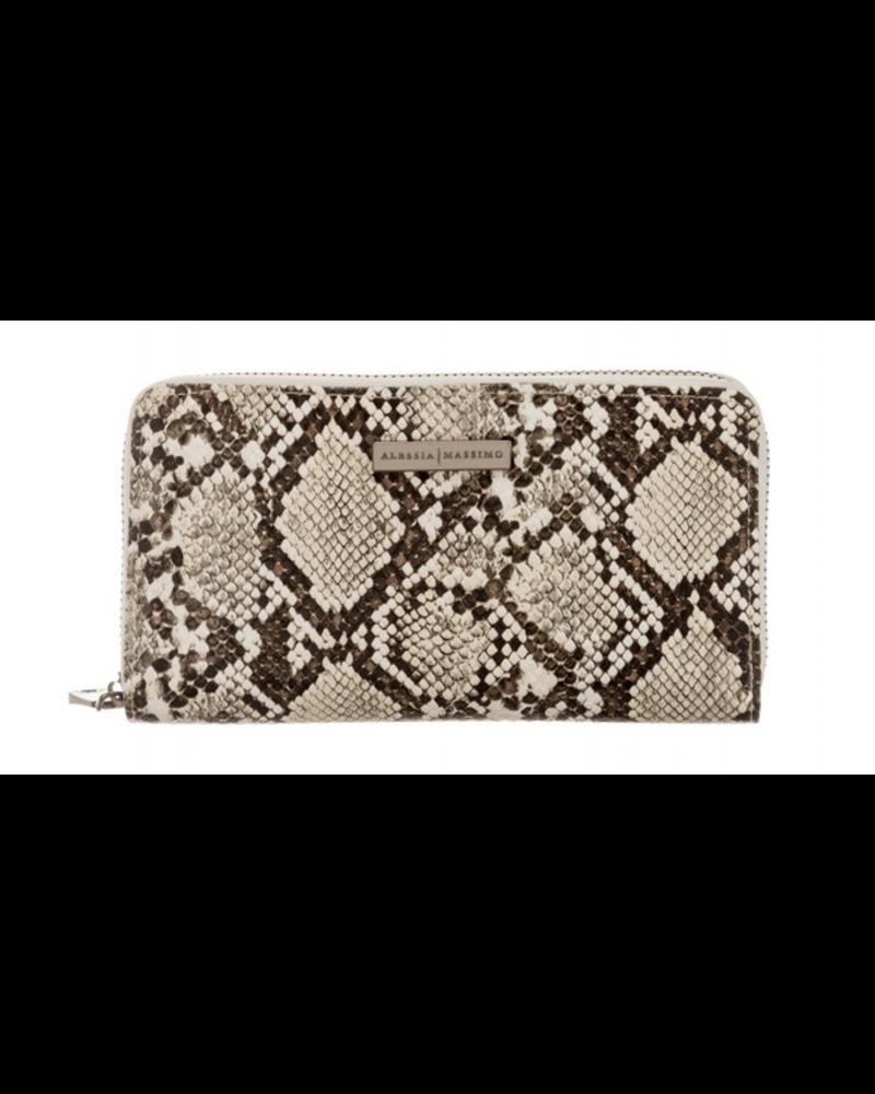 Alessia Massimo Faux Snakeskin Zipper Wallet