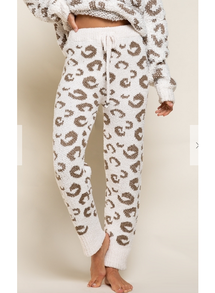 POL Clothing Plush Leopard Joggers