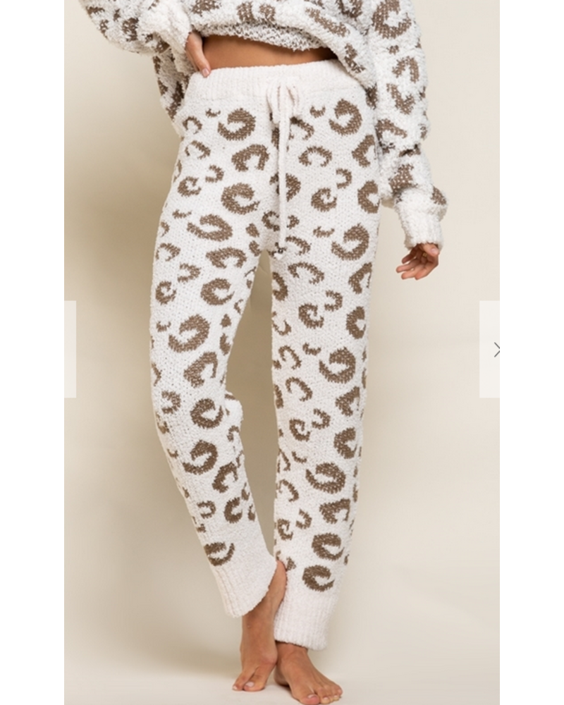 POL Clothing Plush Leopard Joggers