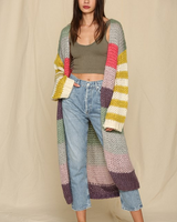by-together Long Sleeve Knit Sweater Spriped Cardigan