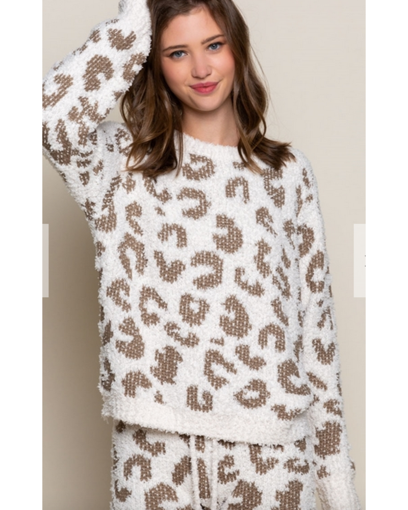 POL Clothing Plush Leopard Top