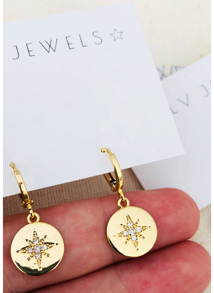 Alv Jewels Starburst Coin Huggie Hoops